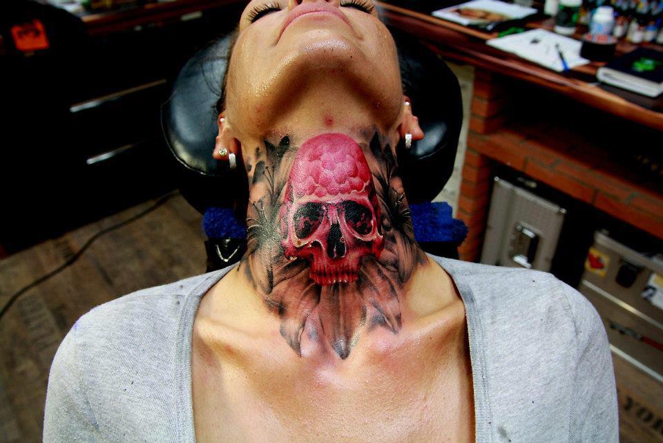 Skull tattoo by marcel daatz skullsproject for Marc anthony neck tattoo