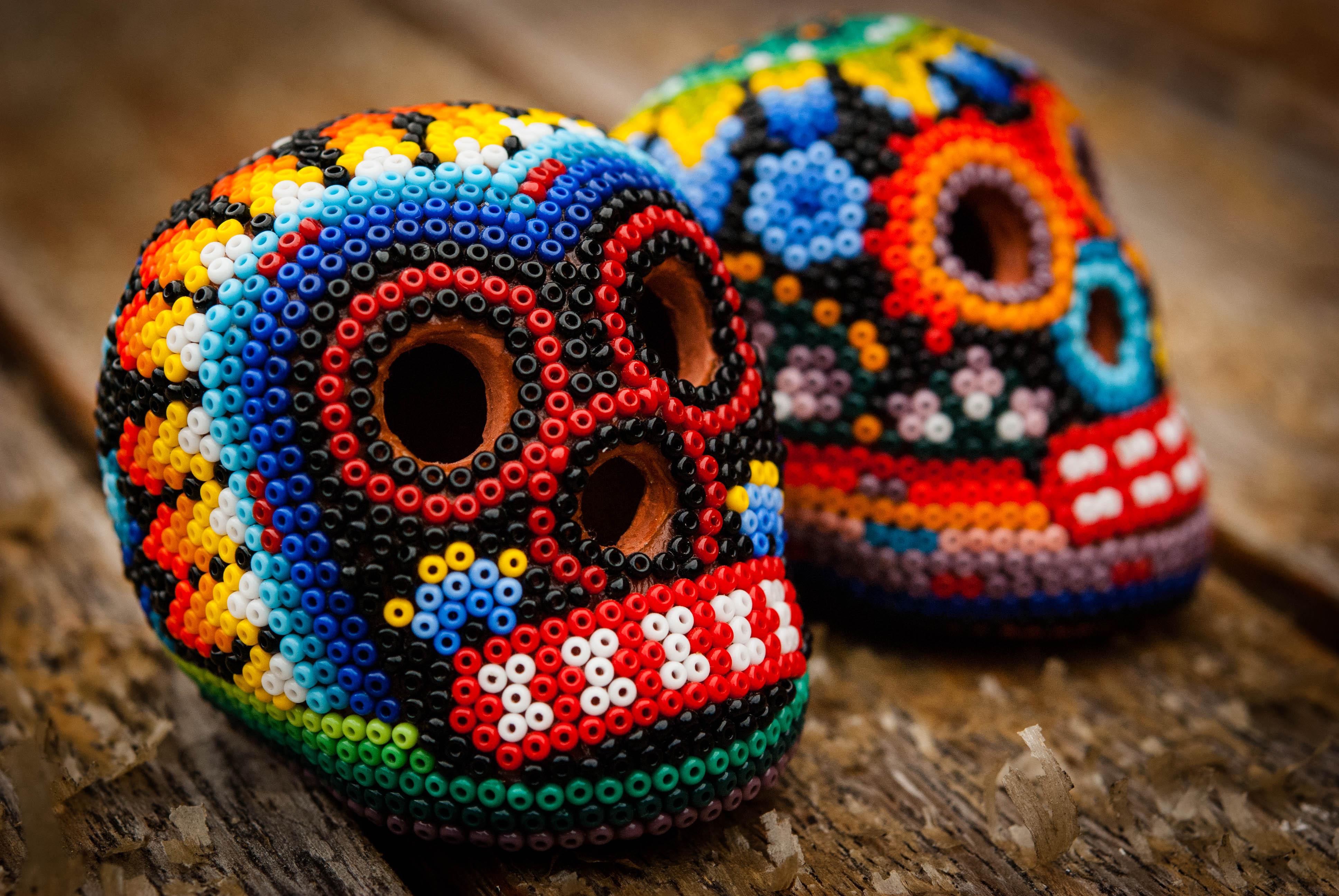 two new beaded skulls from mexico skullsproject
